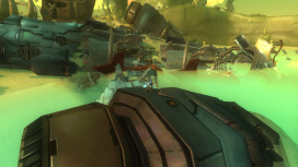 The player, climbing the wreck, can plan for some of their later moves around the beach.
