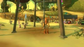 Completing quests in Gravestone and the beach unlocks small vignettes, such as the dancing cook in the background.
