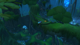 The player bounces high into the trees, their next jump pad in sight.